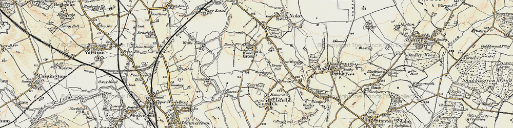 Old map of Woodeaton in 1898-1899