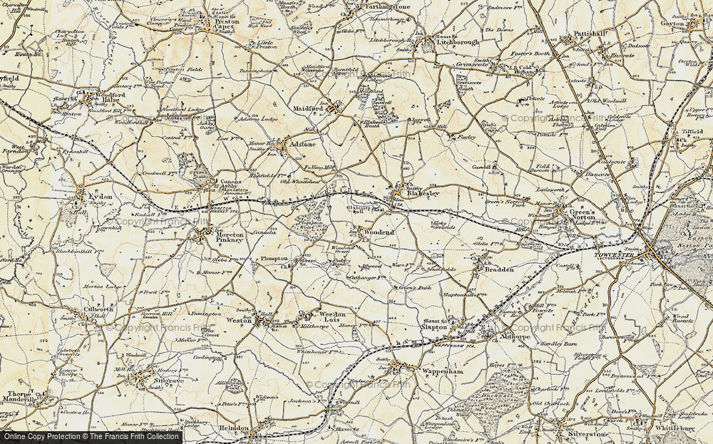 Old Map of Woodend, 1898-1901 in 1898-1901