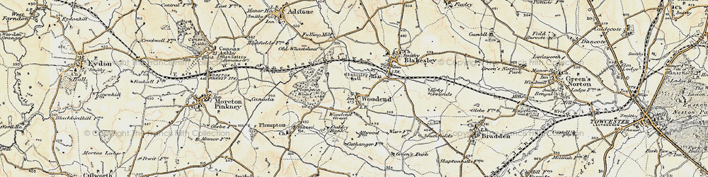 Old map of Woodend Green in 1898-1901