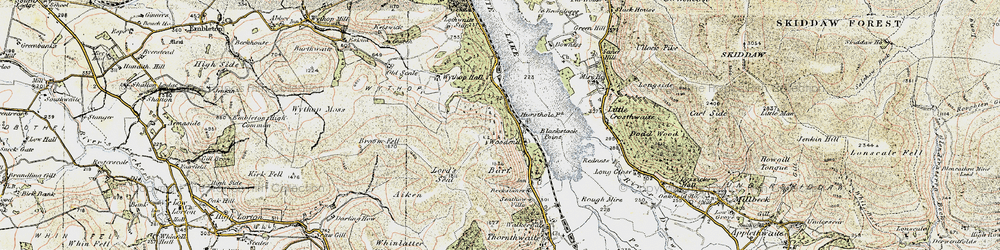 Old map of Whinlatter in 1901-1904