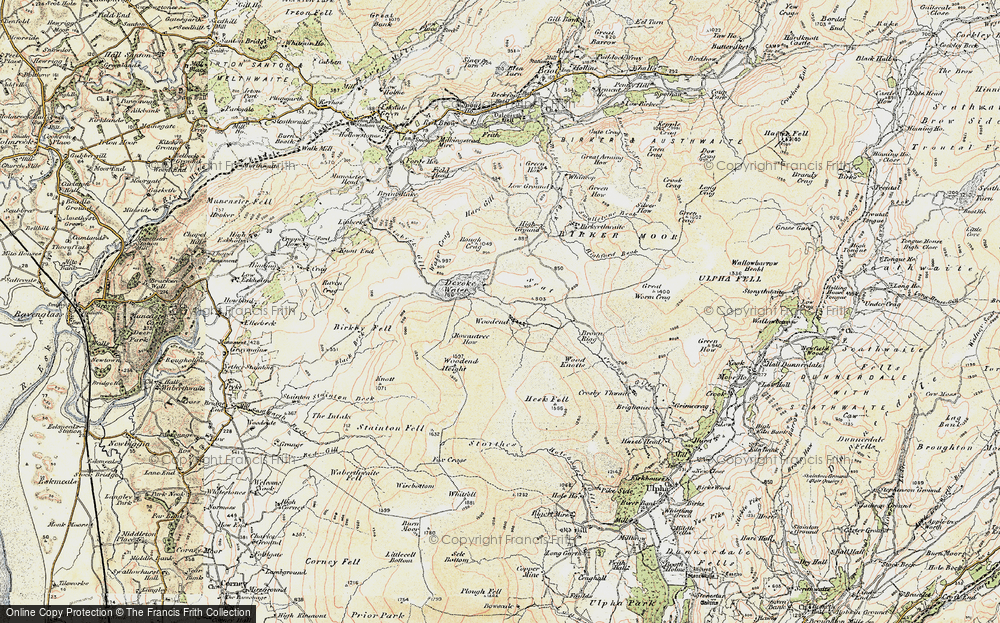 Old Map of Historic Map covering Wood Knotts in 1903-1904