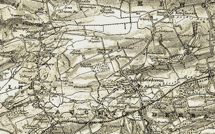 Old map of Woodend in 1903-1908