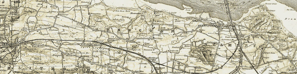 Old map of Woodend in 1904-1906