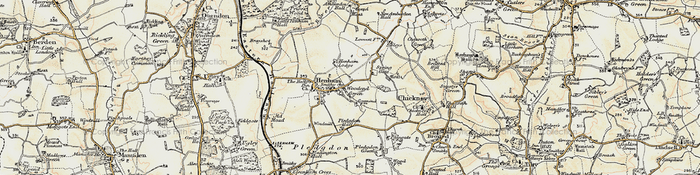 Old map of Woodend Green in 1898-1899