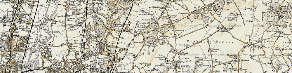Old map of Woodford Bridge in 1897-1898