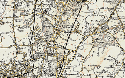 Old map of Woodford Green in 1897-1898
