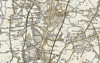 Old map of Woodford Wells in 1897-1898