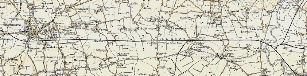 Old map of Woodgate in 1897-1899