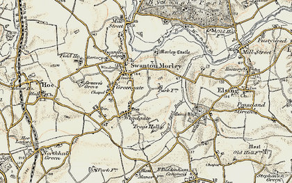 Old map of Woodgate in 1901-1902