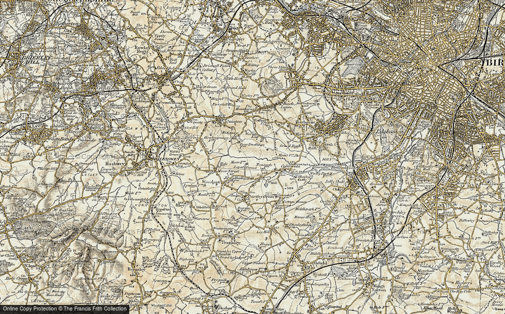 Old Map of Woodgate Valley, 1901-1902 in 1901-1902