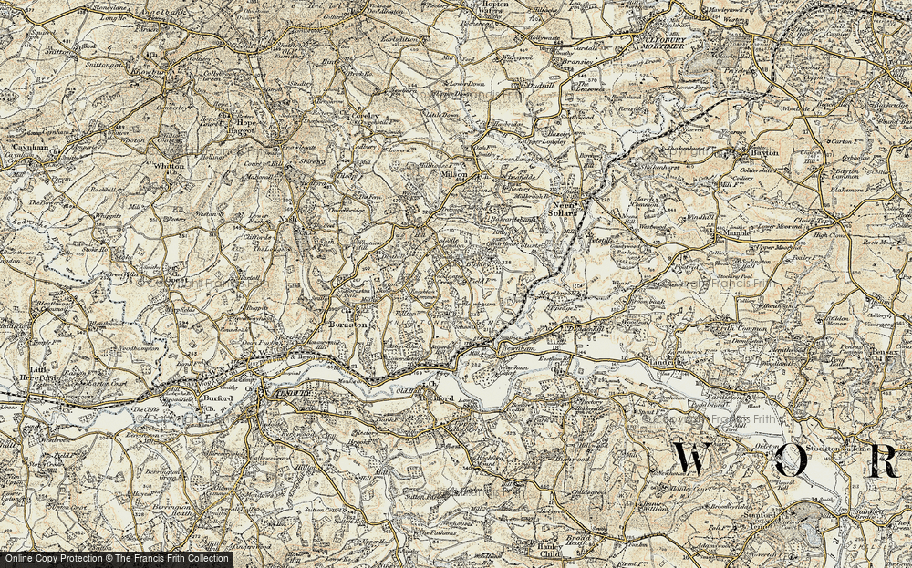 Old Map of Woodgates Green, 1901-1902 in 1901-1902
