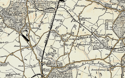 Old map of Woodhall in 1898