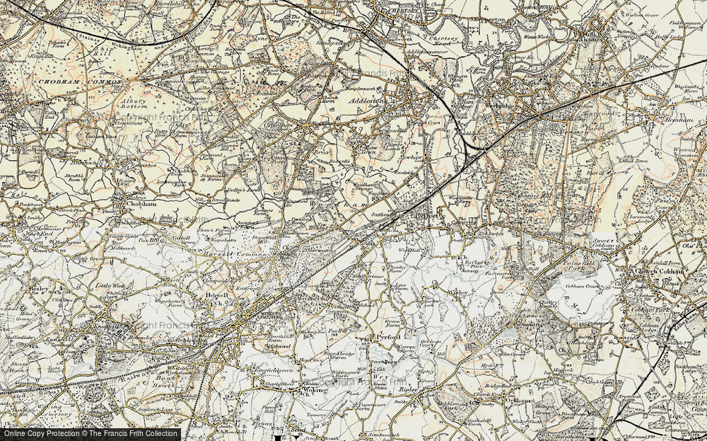 Old Map of Woodham, 1897-1909 in 1897-1909