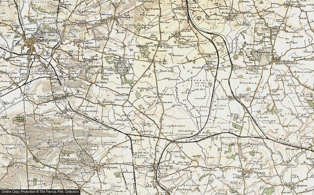 Old Map of Historic Map covering Woodham Burn in 1903-1904