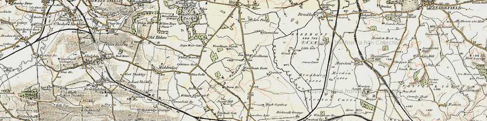 Old map of Woodham in 1903-1904