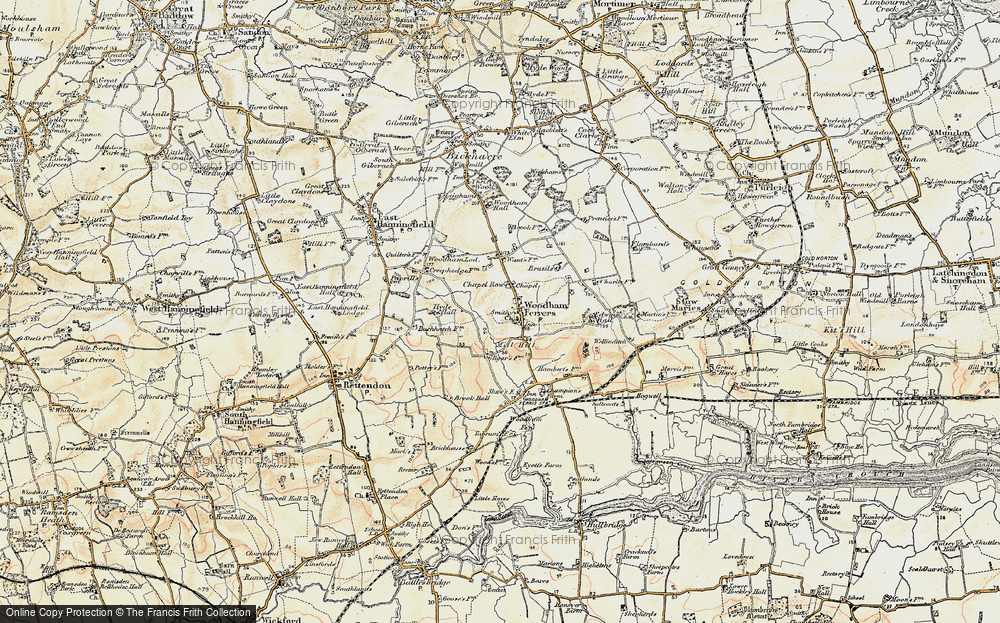 Old Map of Woodham Ferrers, 1898 in 1898
