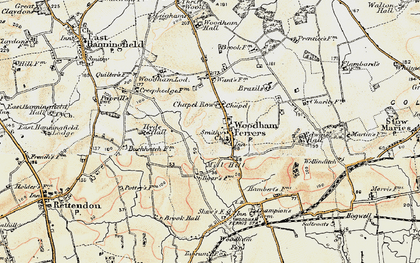 Old map of Woodham Ferrers in 1898