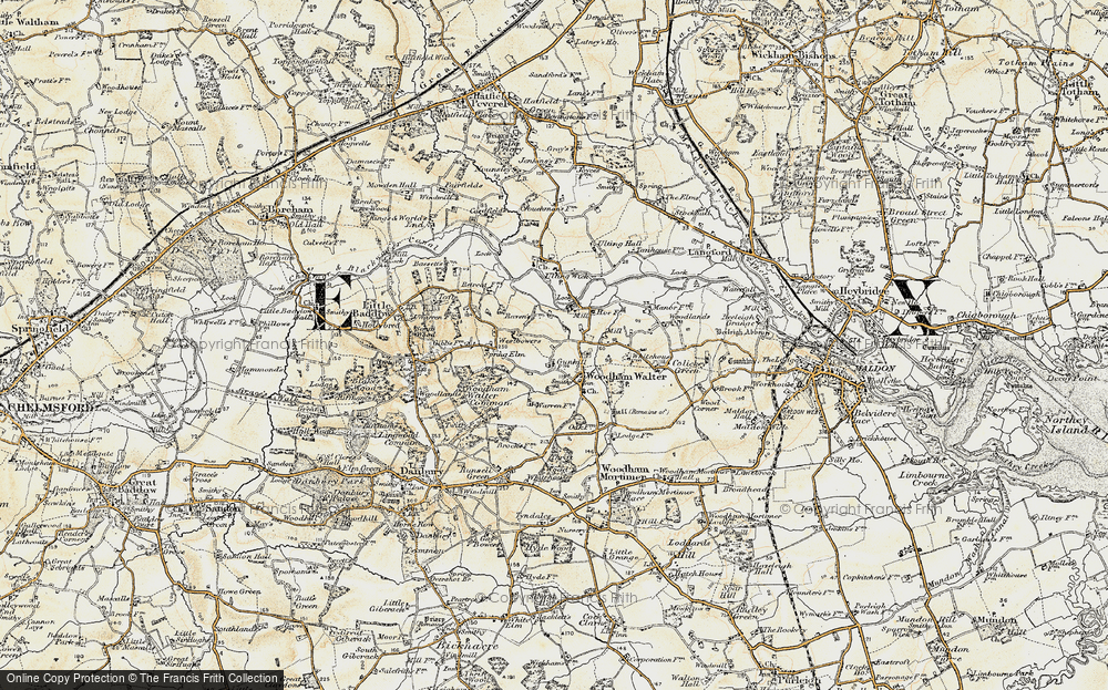 Old Map of Woodham Walter, 1898 in 1898