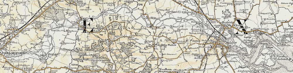 Old map of Woodham Walter in 1898