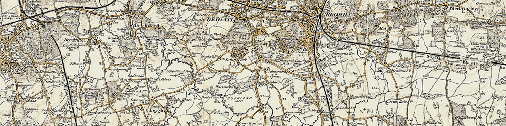 Old map of Woodhatch in 1898-1909