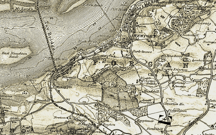 Old map of Wester Friarton in 1907-1908
