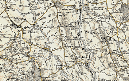 Old map of Woodhill in 1901-1902