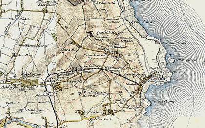 Old map of Woodhorn in 1901-1903