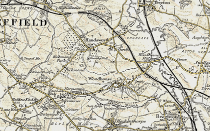 Old map of Woodhouse in 1902-1903