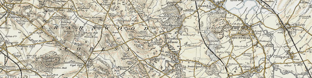 Old map of Woodhouse Eaves in 1902-1903