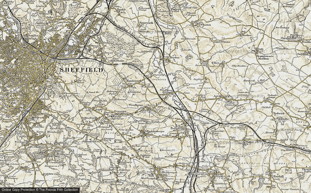 Old Map of Woodhouse Mill, 1902-1903 in 1902-1903