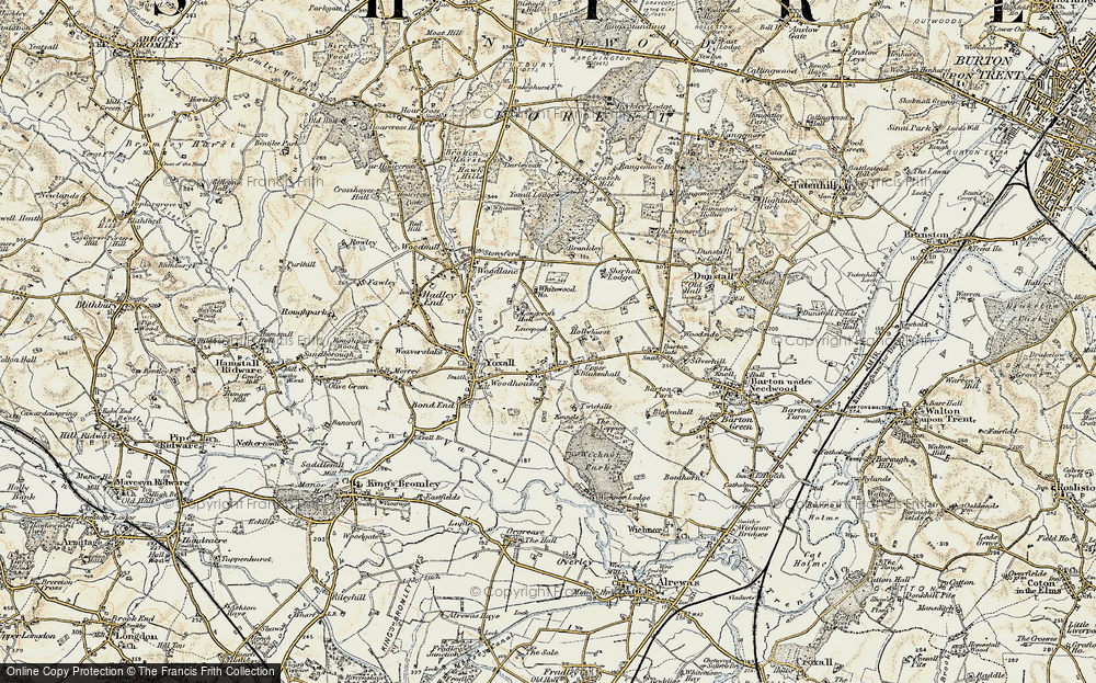 Old Map of Woodhouses, 1902 in 1902