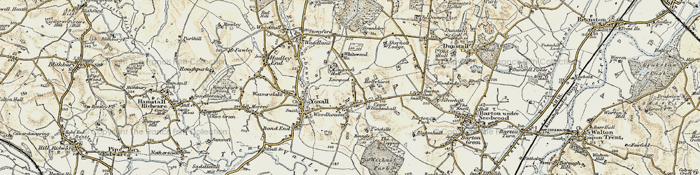 Old map of Woodhouses in 1902