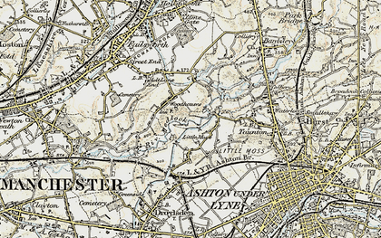 Old map of Woodhouses in 1903