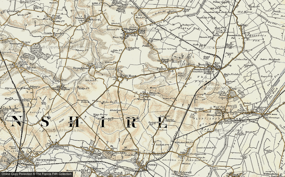 Old Map of Woodhurst, 1901 in 1901