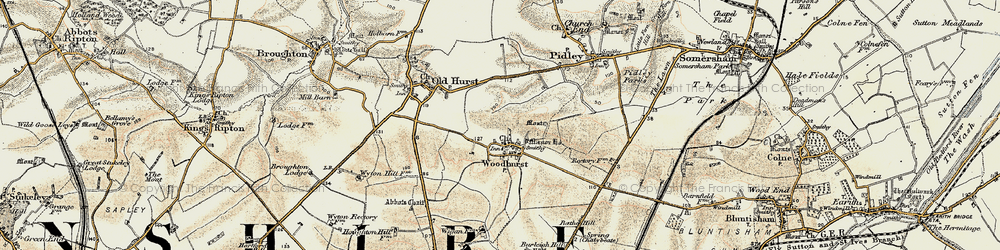 Old map of Woodhurst in 1901