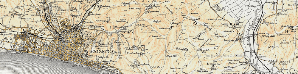 Old map of Woodingdean in 1898