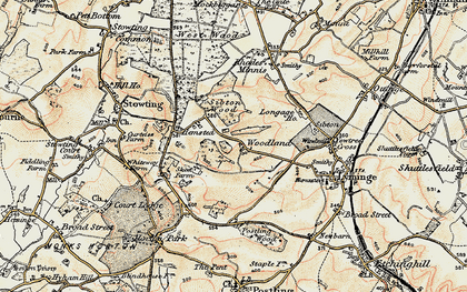 Old map of Woodland in 1898-1899