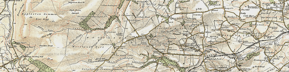 Old map of Woodland in 1904