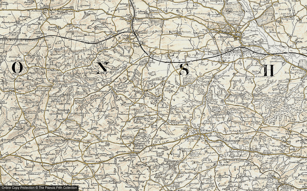 Old Map of Woodland Head, 1899-1900 in 1899-1900