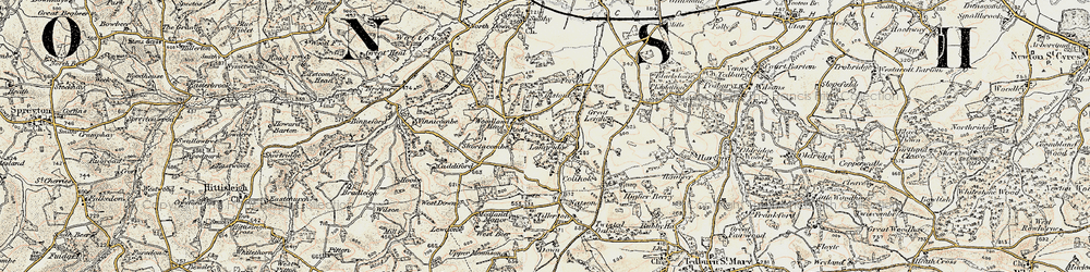 Old map of Latymer Courtenays in 1899-1900
