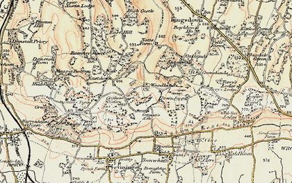 Old map of Woodlands in 1897-1898
