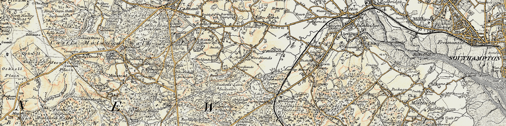 Old map of Woodlands in 1897-1909