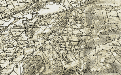 Old map of Woodlands in 1908-1909
