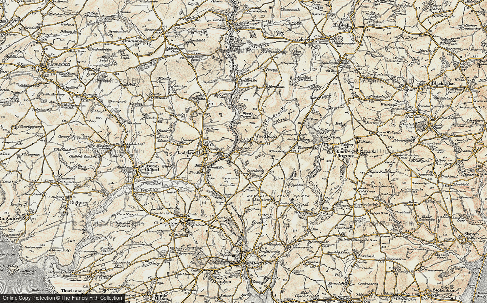 Old Map of Woodleigh, 1899 in 1899