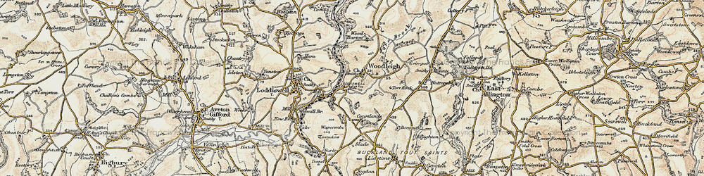 Old map of Woodleigh in 1899
