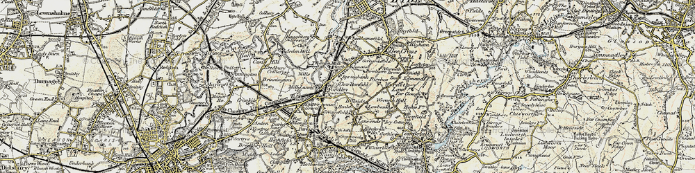 Old map of Woodley in 1903