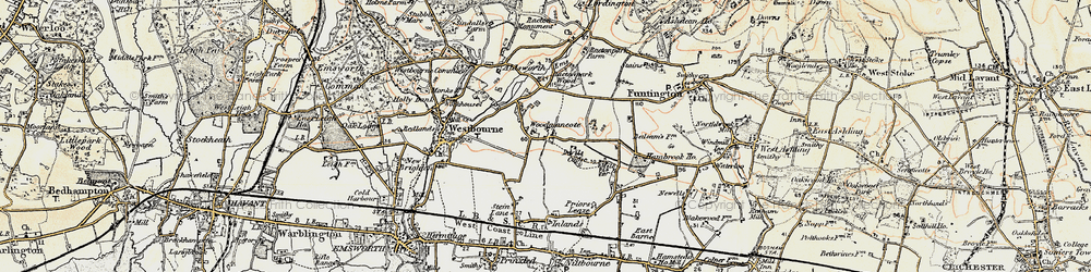 Old map of Woodmancote in 1897-1899