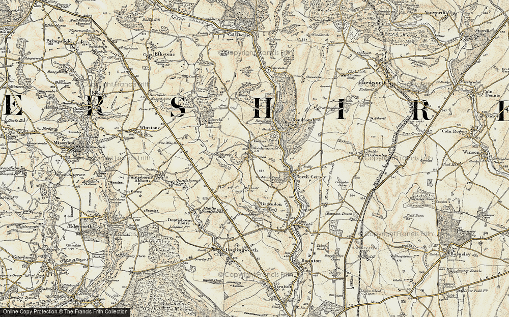 Old Map of Woodmancote, 1898-1899 in 1898-1899
