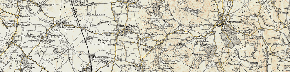 Old map of Woodmancote in 1899-1900