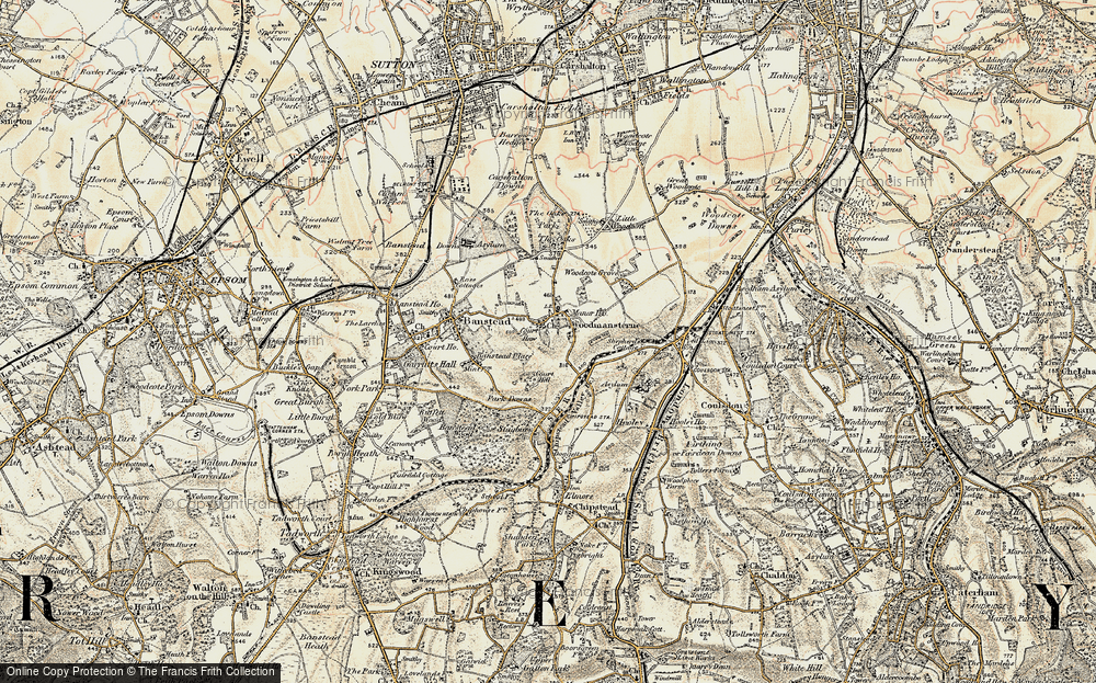 Old Map of Woodmansterne, 1897-1909 in 1897-1909